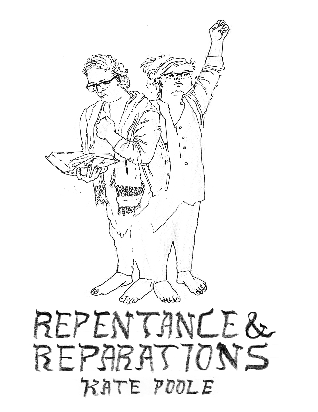 Reparations and Reparations by Kate Poole Cover, a woman wearing a tallis is praying and rapping her fist against her chest in a traditional gesture for Al Chait for Yom Kippur, the same woman on the right is raising her fist in a sign of solidarity and looking up hopefully